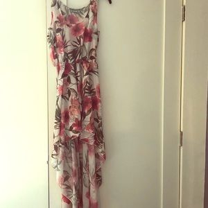 Tropical floral high low dress